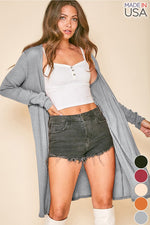 Long Sleeve Rib Knit Open Front Cardigan Duster | Grey