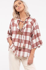 Plaid Tassel Tie Top