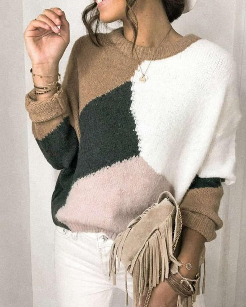 Color Block Fluffy Casual Sweater | Khaki
