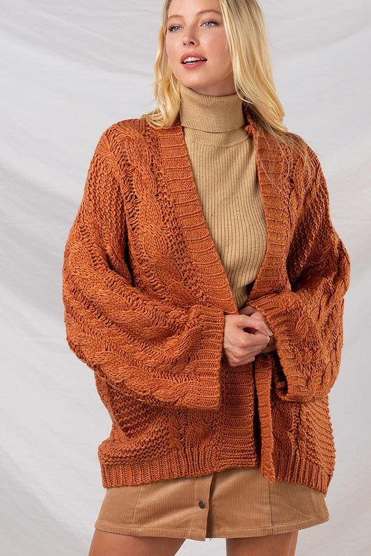 Cable Knit Oversized Sweater Cardigan | Rust