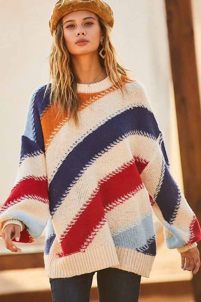 Diagonal Striped Oversized Sweater