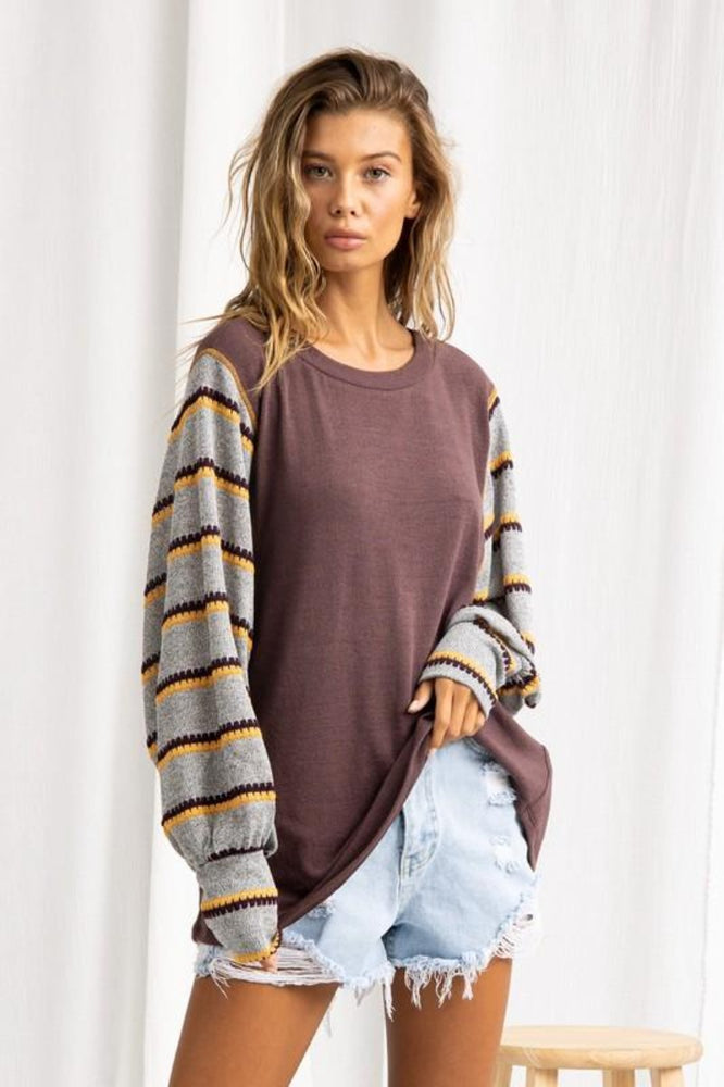 Striped Sleeve Knit Top