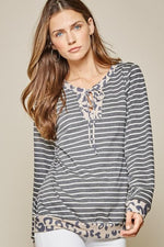 Striped Top Long Sleeve With Leopard Trim