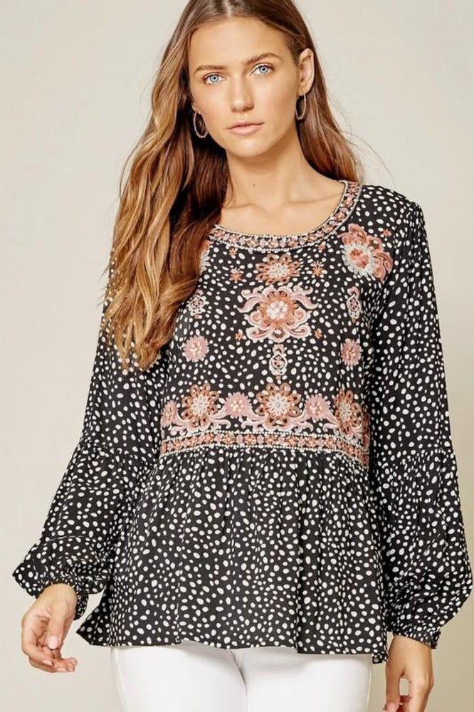 Dalmatian Print Embroidered Top