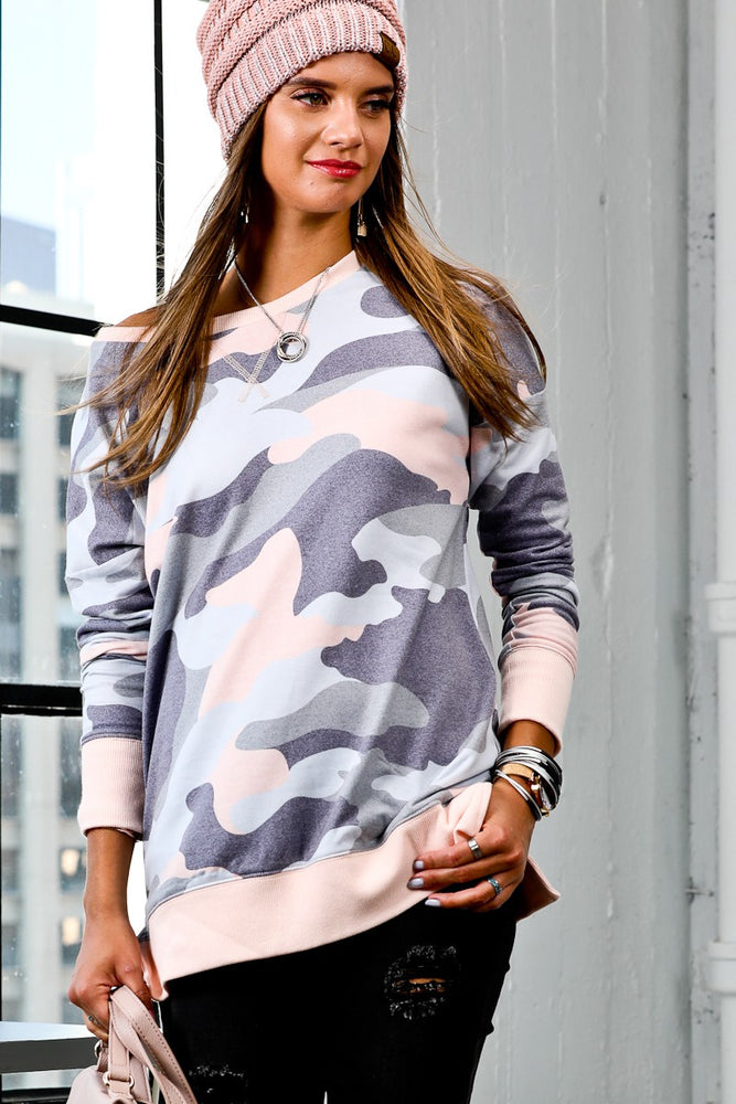 Loose Fit Camo Print Top | Taupe