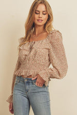 Ditsy Rose Square-Neck Blouse