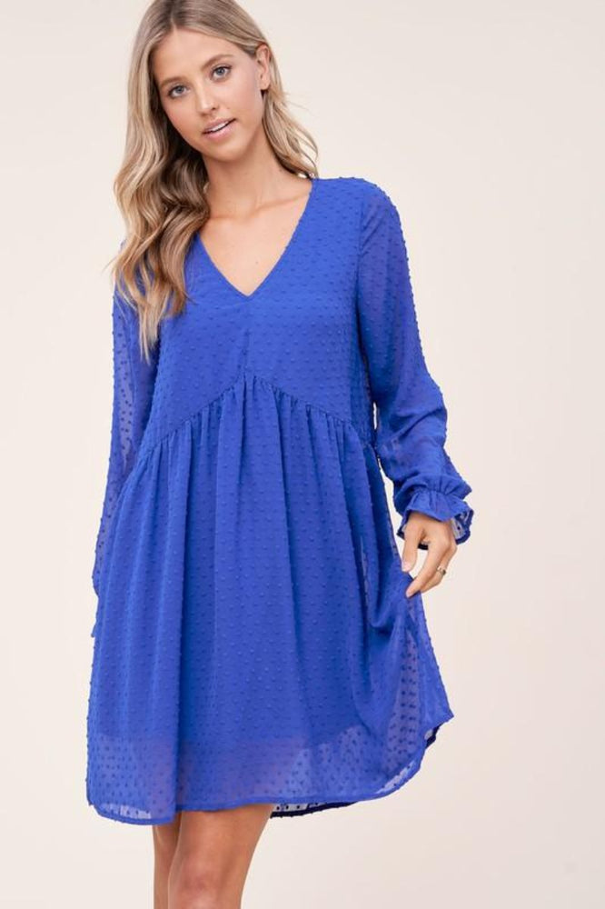 Long Sleeve V-Neck Swiss Dot Dress