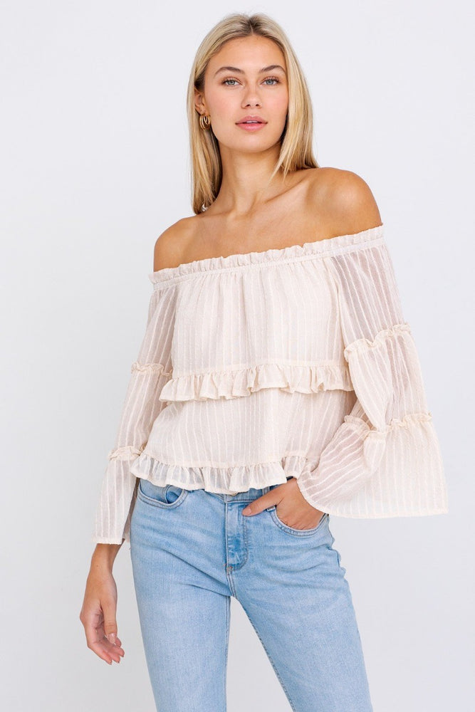 Off Shoulder Tiered Ruffle Top