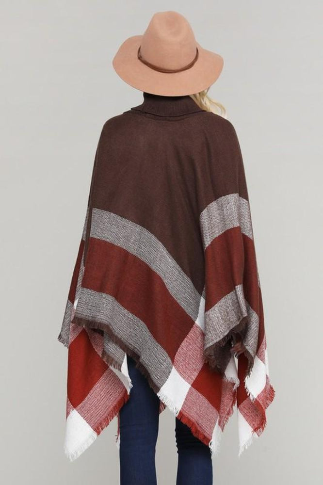 Pullover Color Block Poncho