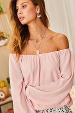 Off Shoulder Long Bubble Sleeve Top
