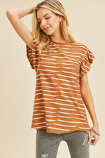 Dolman Ruffle Sleeve Striped Top