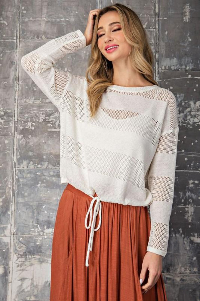 Striped Pointelle Knit Sweater