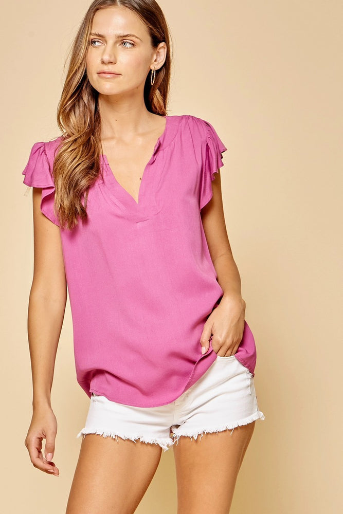 V-Neck Flutter Sleeve Top