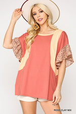Color Block Mixed Tunic Top