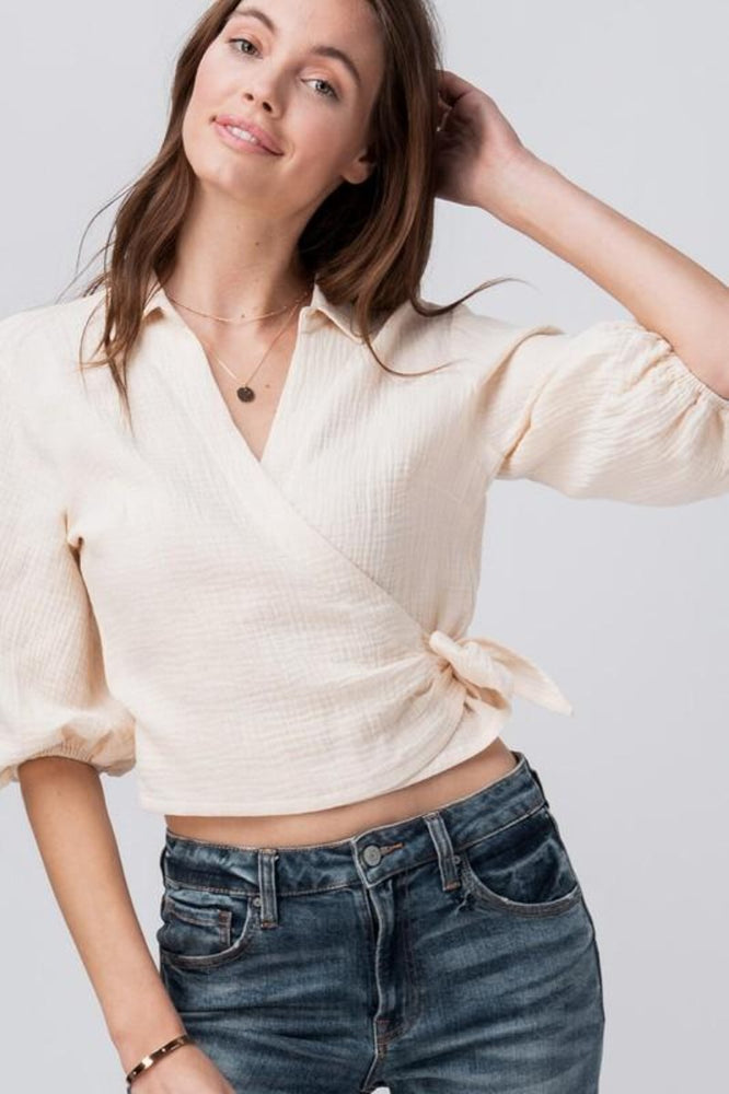 Cotton Surplice Wrapped Blouse