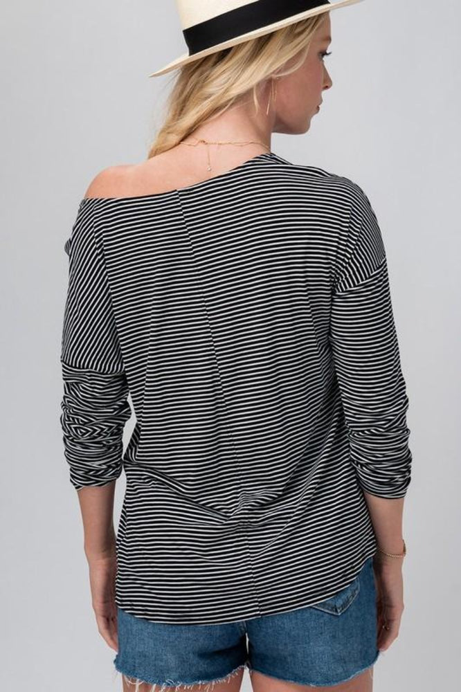Striped Wide Crew Neck Top