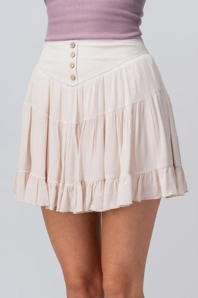 Ruffle Tiered Skirt With Buttons