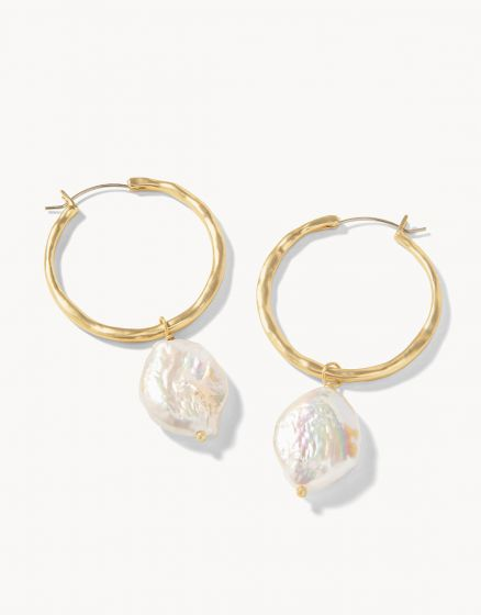 Pearl Drop Hoop Earrings | Gold