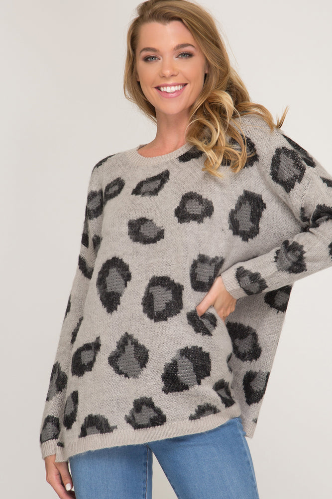 Long Sleeve Leopard Pullover Sweater | Grey