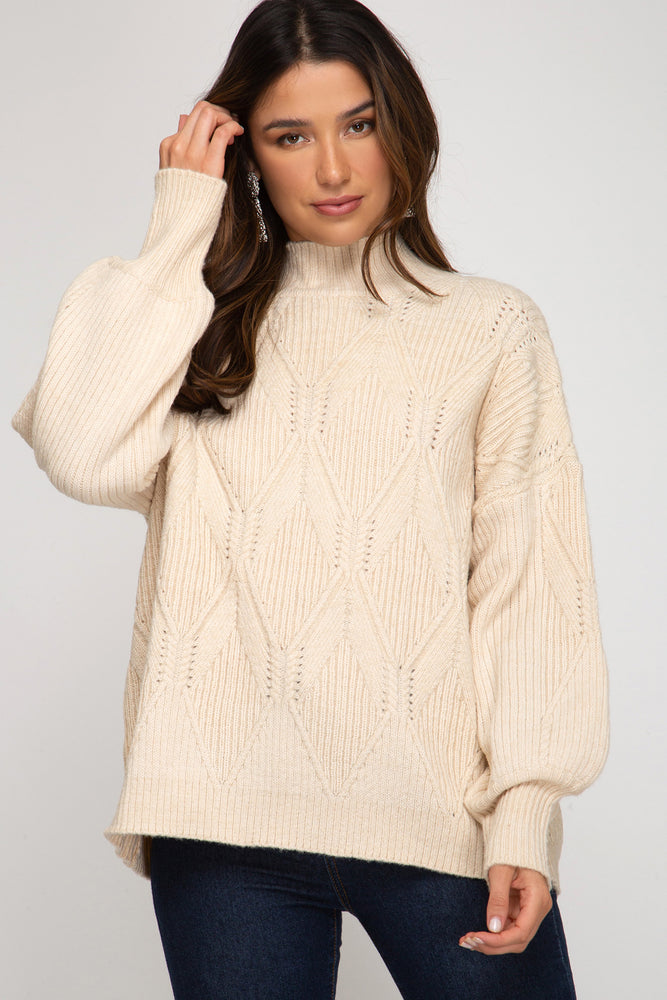 Long Sleeve Mock Neck Knit Sweater Top | Ecru