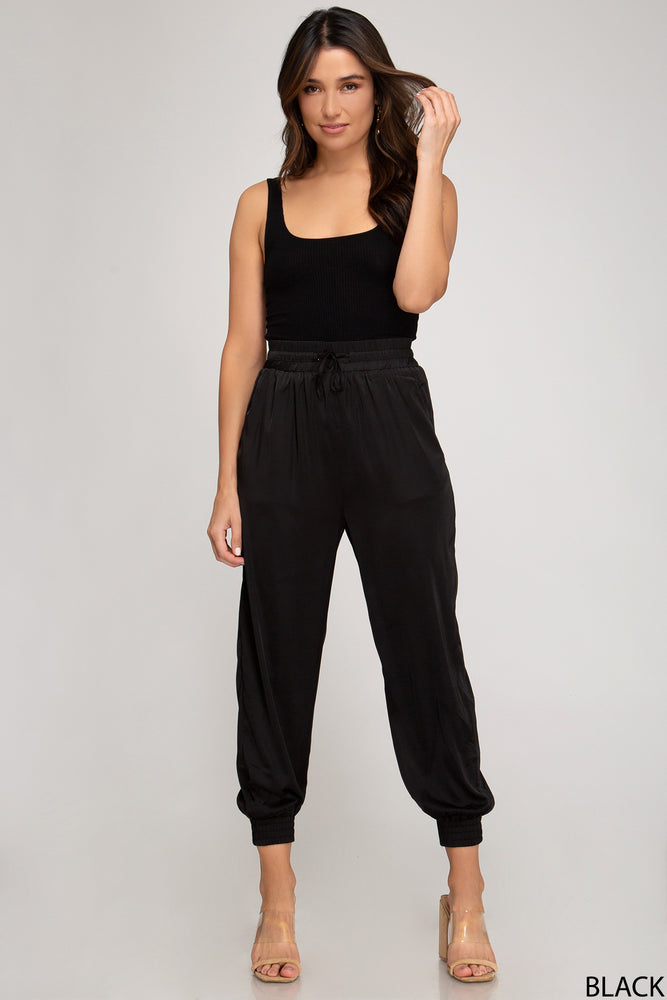Satin Jogger Pants | Black
