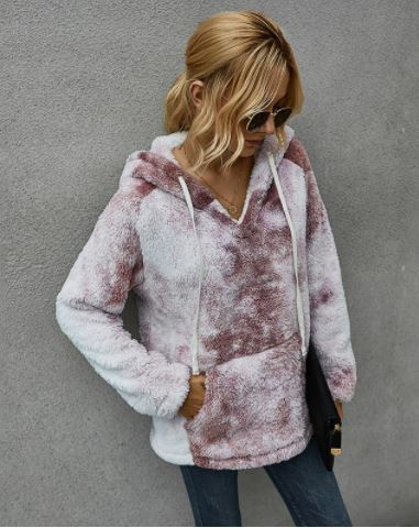 Tie Dye Drawstring Sherpa Pocketed Pullover
