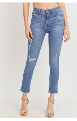 High Rise Distressed Skinny Jeans | Medium Denim