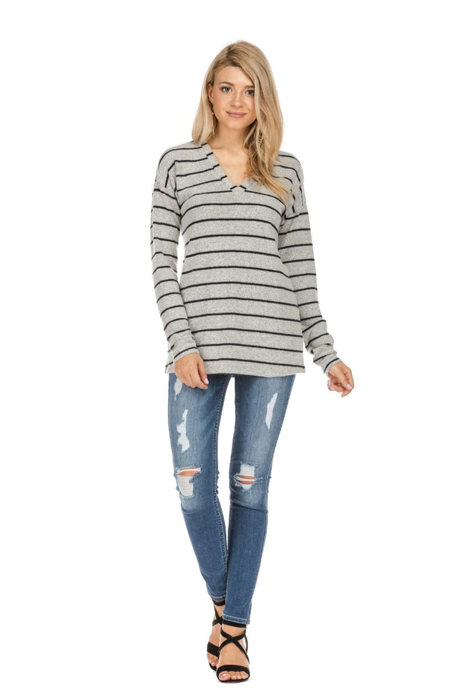 Black Stripe V-Neck Pullover Top