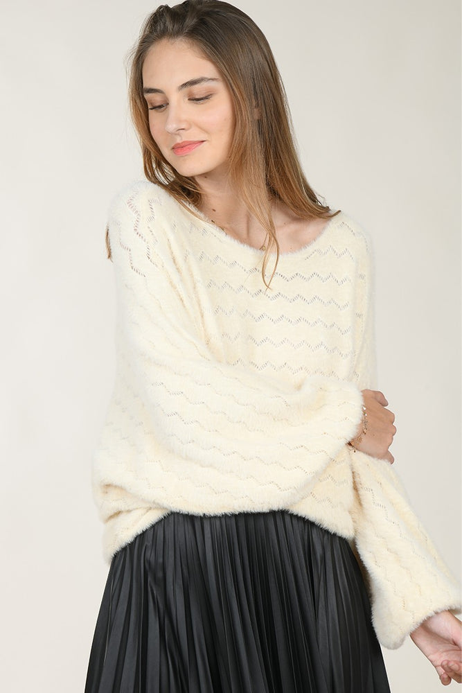 Openwork Knit Sweater | Ecru