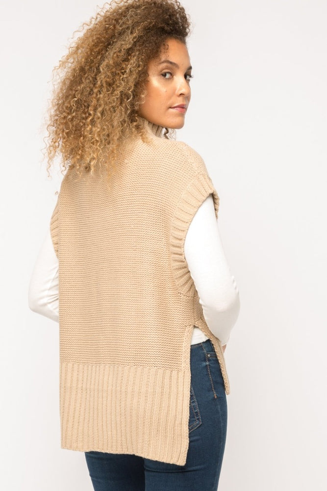 Cable Knit Turtleneck Poncho | Latte