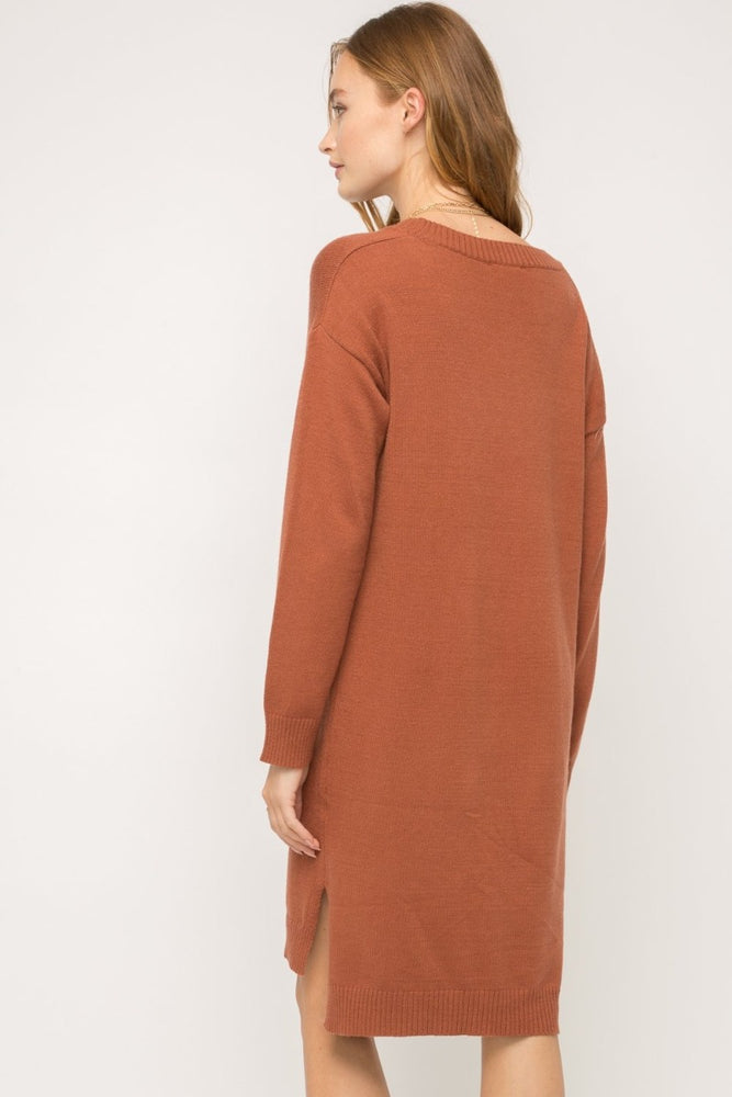 V-Neck Midi Sweater Dress | Rust