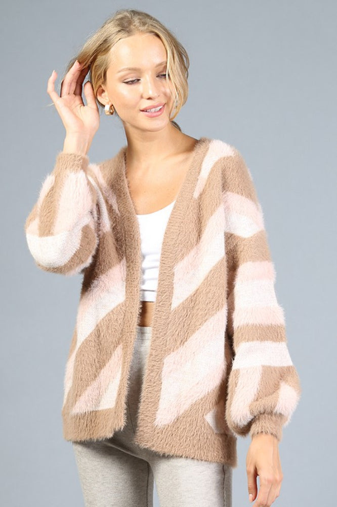 Fuzzy Striped Cardigan