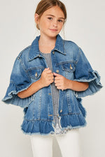 Ruffle Stone Wash Denim Jacket | Mid Denim
