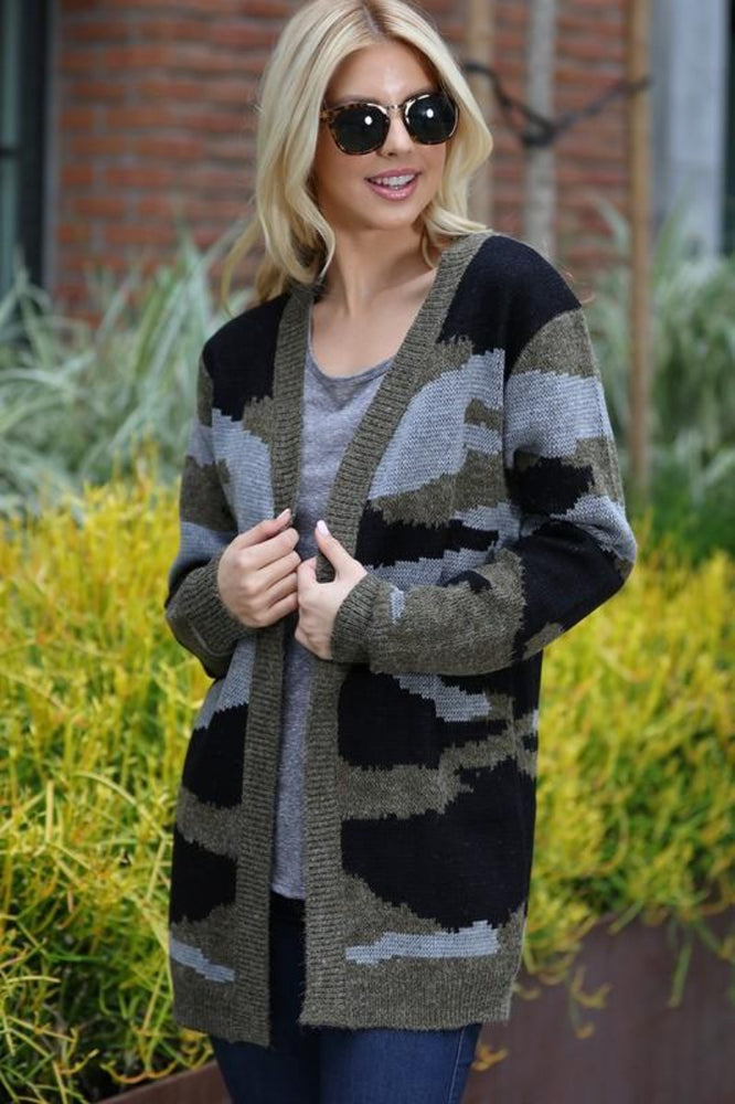 Camo Knitted Cardigan