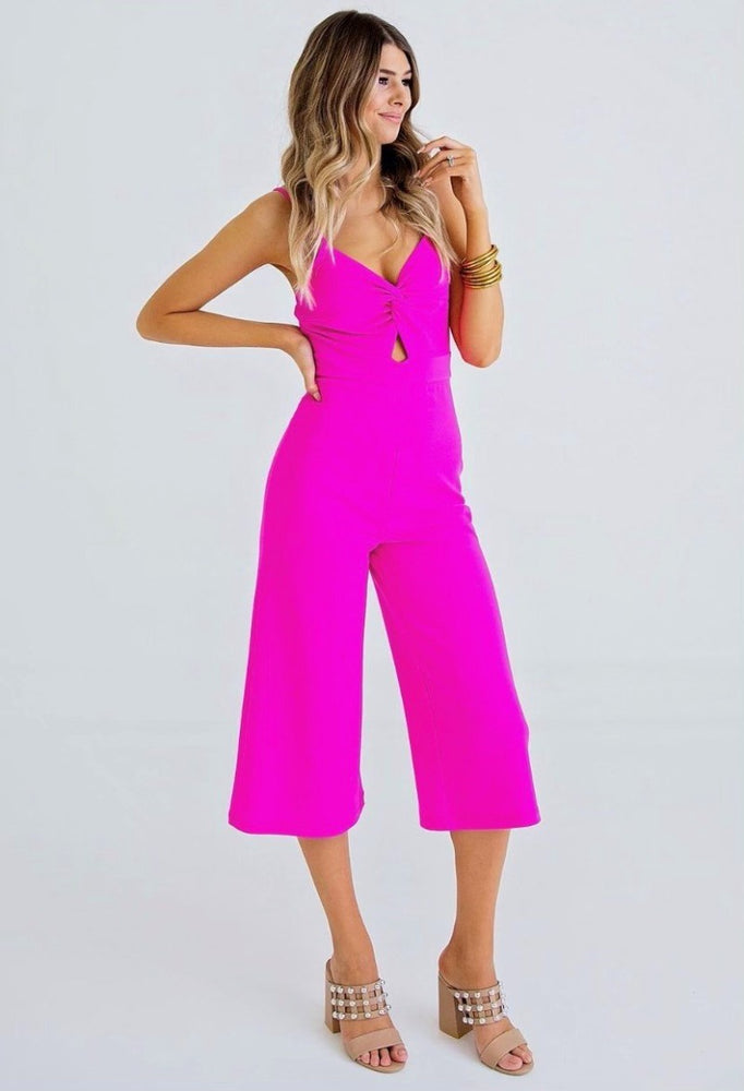 Front Knot Cropped Jumpsuit