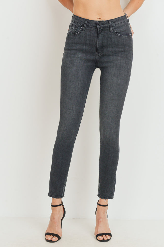 High Rise Destroyed Skinny Jeans | Black