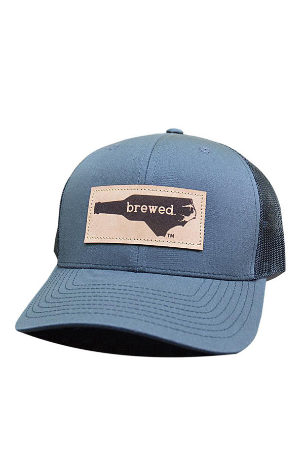 NC Brewed Leather Patch Hat | Charcoal and Black
