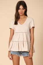V Neck Ruffle Tunic | Clay