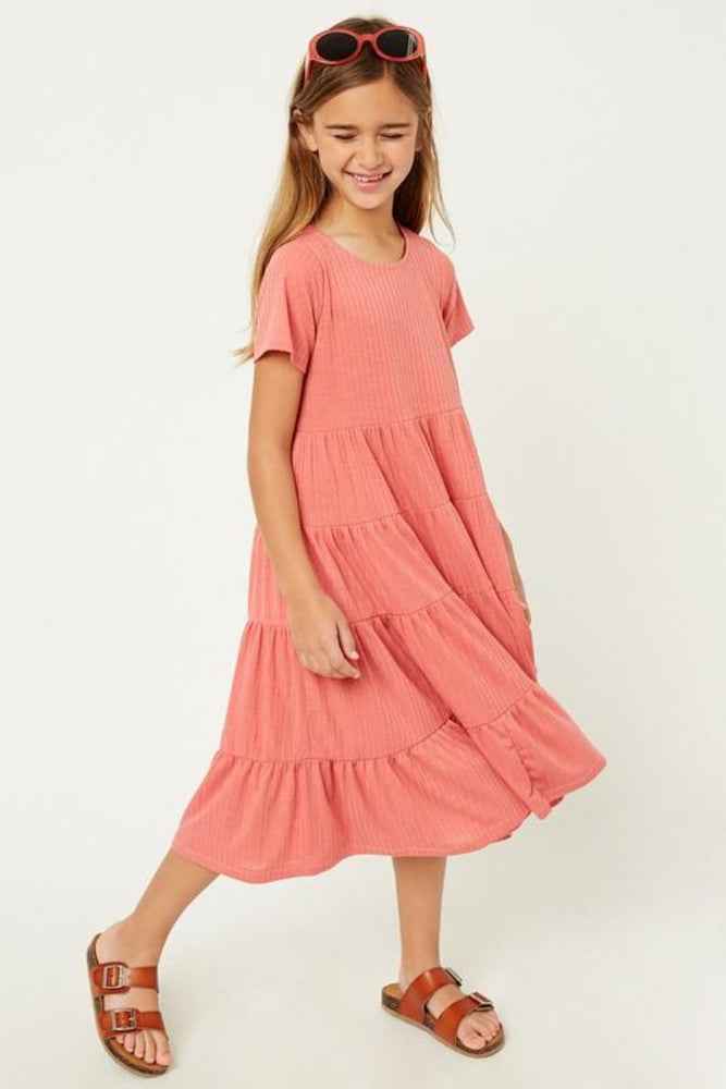 Ribbed Midi Swing Dress | Coral