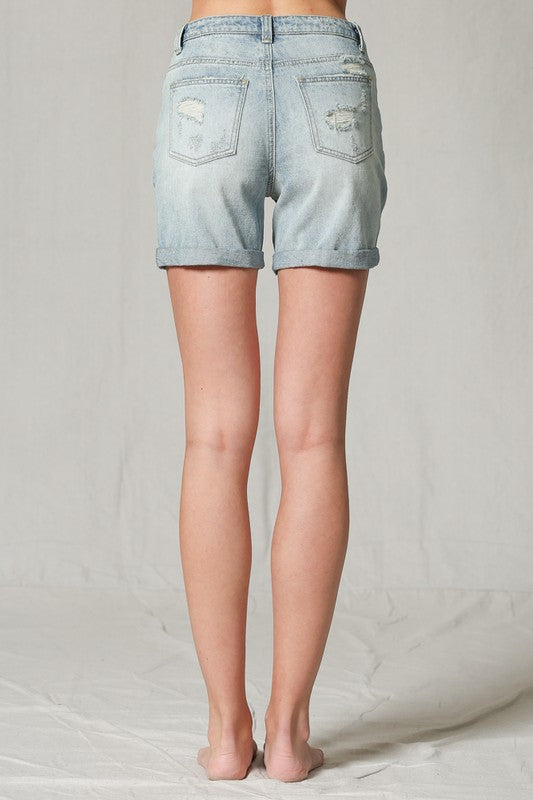 Super Long Distressed Mom Shorts | Denim