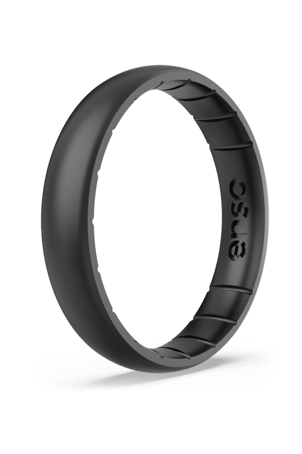 Elements Thin Silicone Ring | Black Pearl