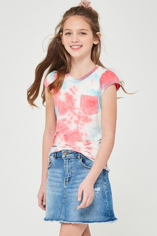 Puff Sleeve Tie Dye Top | Coral