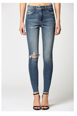 High Rise Destroyed Skinny Jeans | Dark Blue