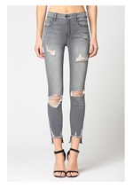 Mid Rise Destroyed Skinny Jeans | Grey
