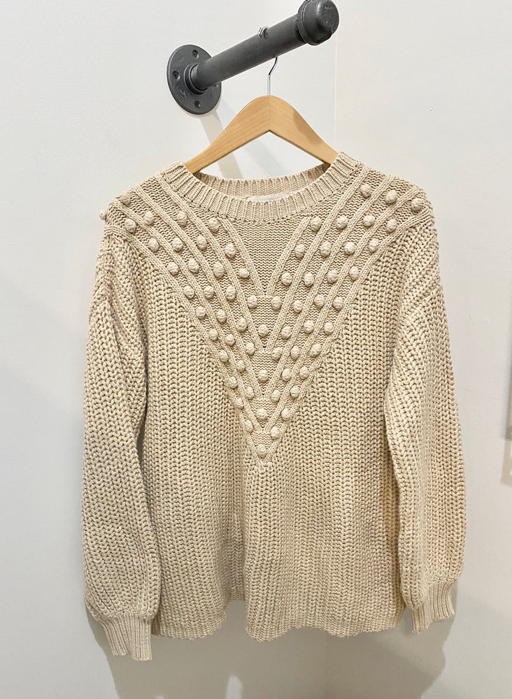 Cotton Blend Pom Knit Sweater | Oatmeal