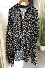 Animal Print Gathered Blouse | Black Combo