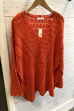 Sheer Bell Sleeve Sweater | Tomato Red