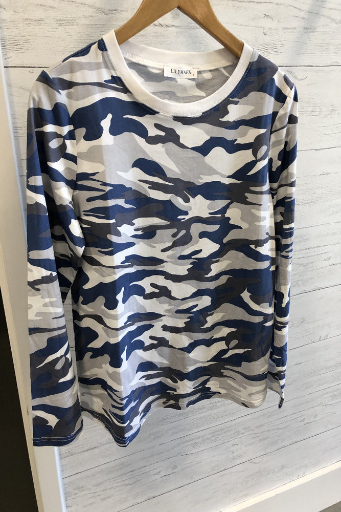 Loose Fit Camo Top | Grey/Navy
