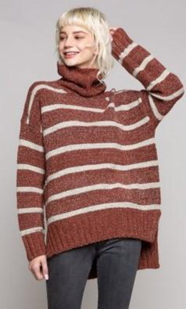 Striped Turtleneck Sweater | Fired Brick