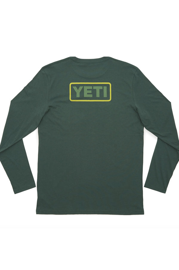 Yeti Long Sleeve Tee Shirt | Green Badge Logo